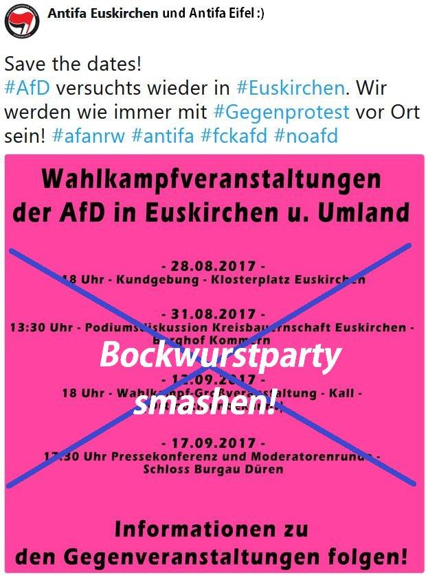 Der #AfD die Bockwurstparty in Kreis Euskirchen versauen! Alle liebe Menschen bitte kommen und schön Krach & BuntiBunti .) #FckAfD #NoAfD