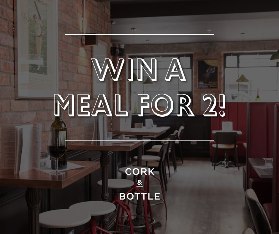 #Win a meal for 2 at #CorkAndBottle! Follow us on #Facebook and retweet to be in with a chance! <br>http://pic.twitter.com/Lcjf3dTxrs