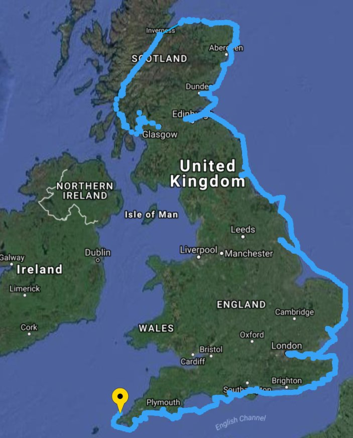 Final 'corner' and most southerly point now passed #RoundBritain2017 #tell9people! Onwards and upwards to #Bristol tomorrow evening 😀
