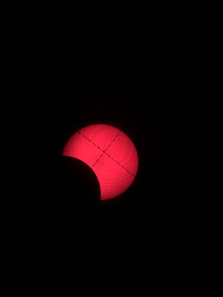 9:30 am PDT through a telescope w appropriate sun filter. Solar #Eclipse2017 in Western Oregon. https://t.co/iG3JeRY9y8