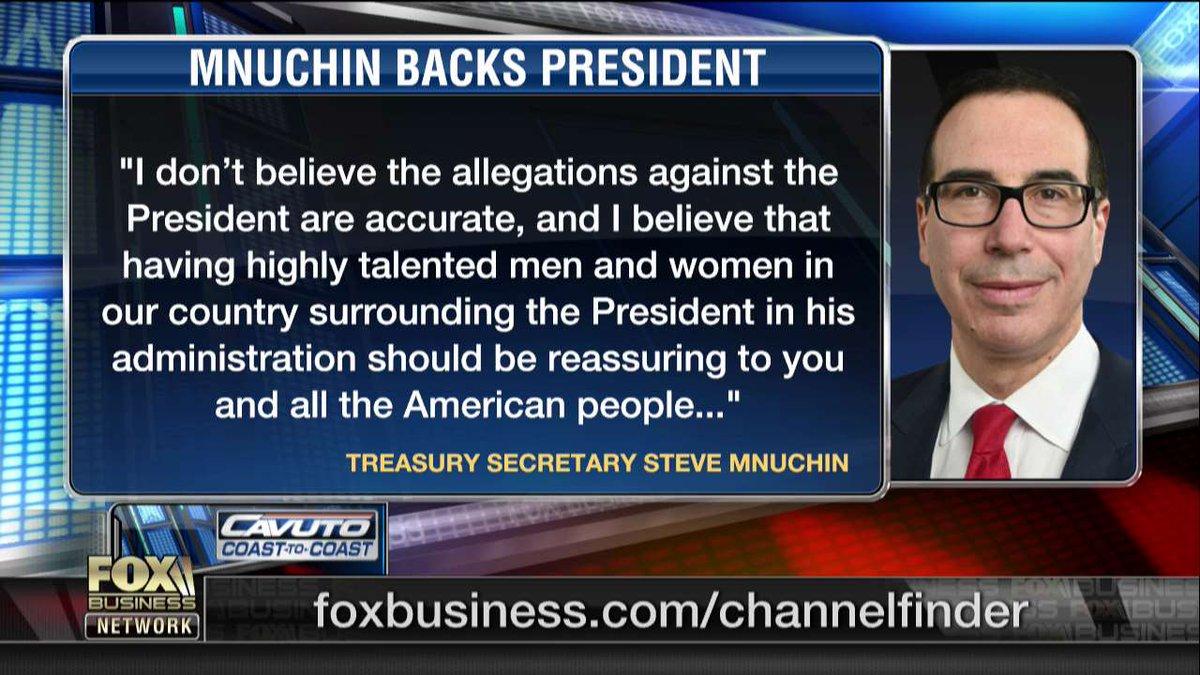 Treasury Secretary Steven Mnuchin backed...