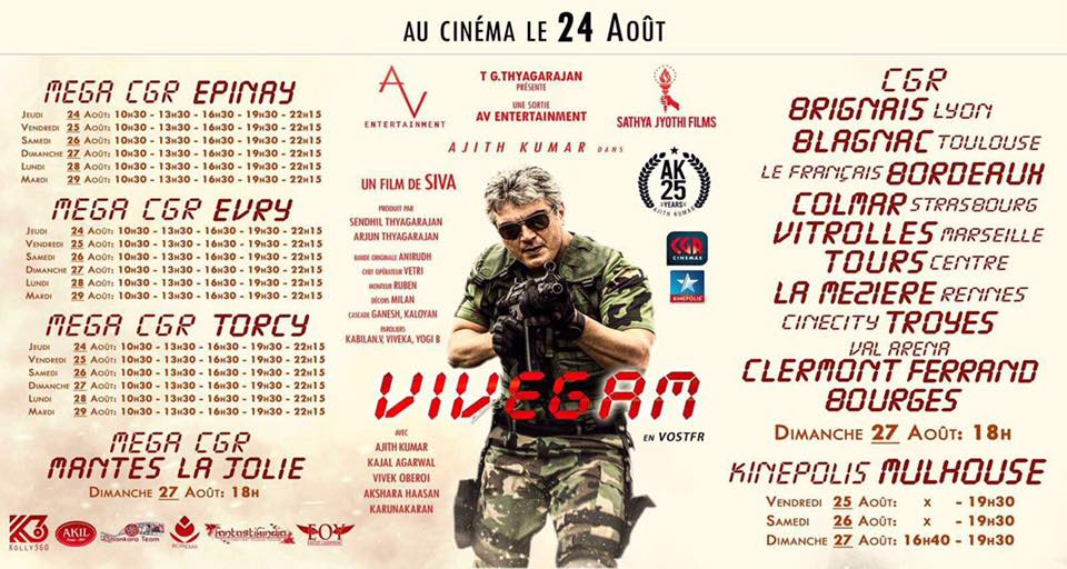 #France schedule for #Vivegam in 14 Locations.. All locs open for bookings now.. Priced at Huge €15. Another 10,000 Entries for @Ajith?<br>http://pic.twitter.com/VbPdQlJ0wL