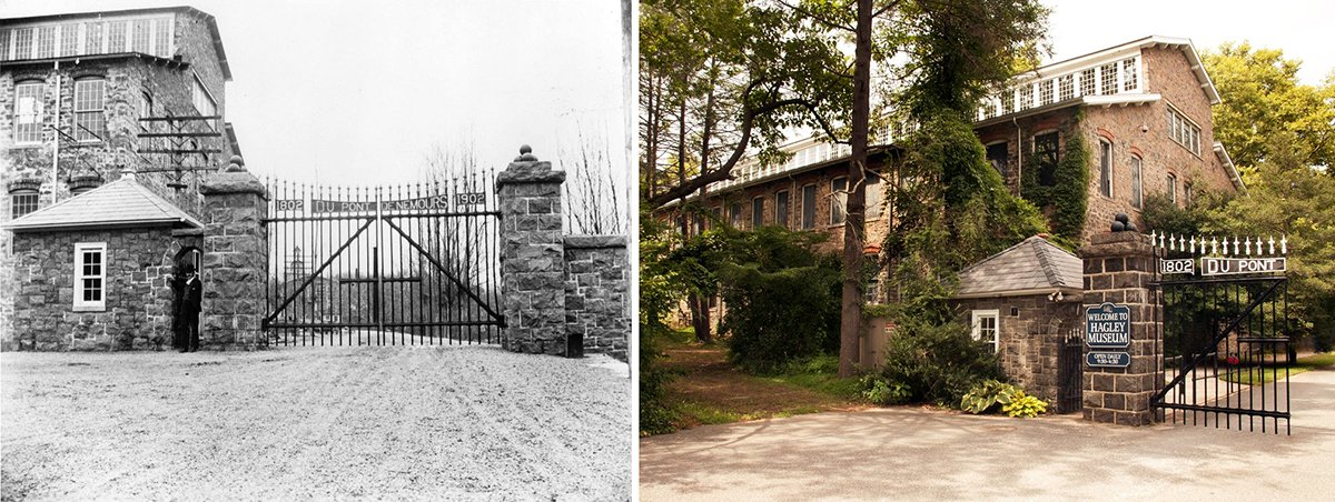 """The """"new"""" gates were installed in 1904 at the main entrance and called the """"Centennial Gates."""" You can still drive past them today! #dupont <br>http://pic.twitter.com/gn8aEfHIuj"""