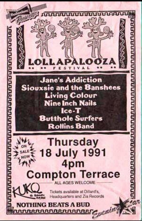 We just found this @lollapalooza flyer from 1991 in our archives. What a lineup! https://t.co/Y7aPkujDAk