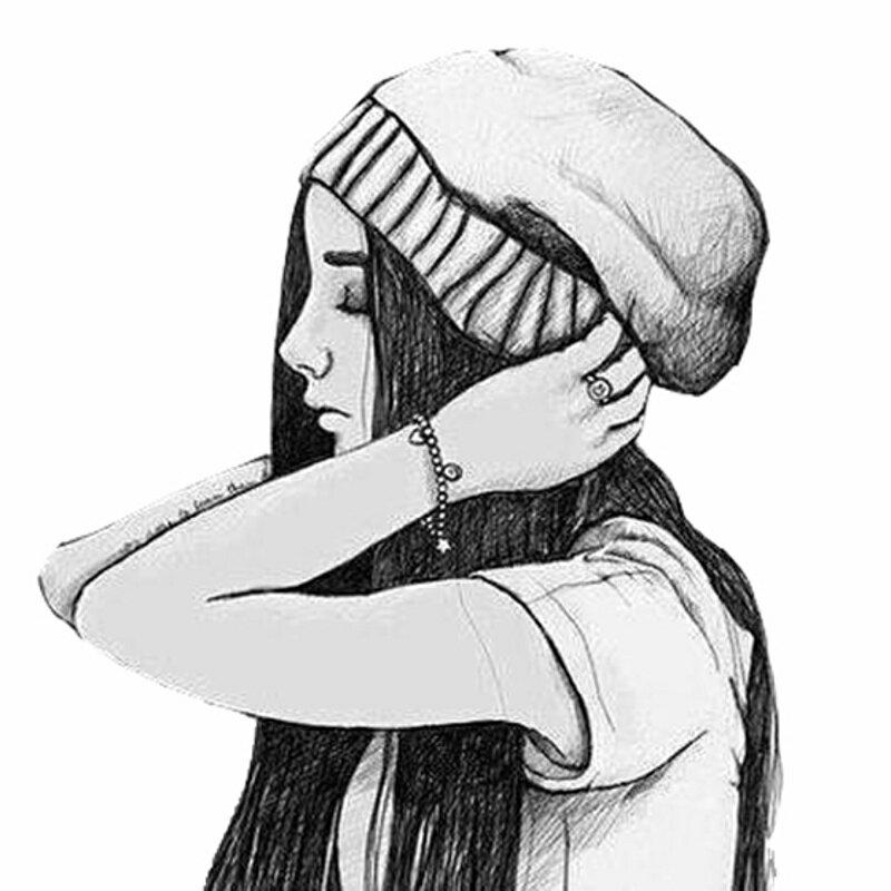 Прикольные картинки для срисовки девочки в шапке