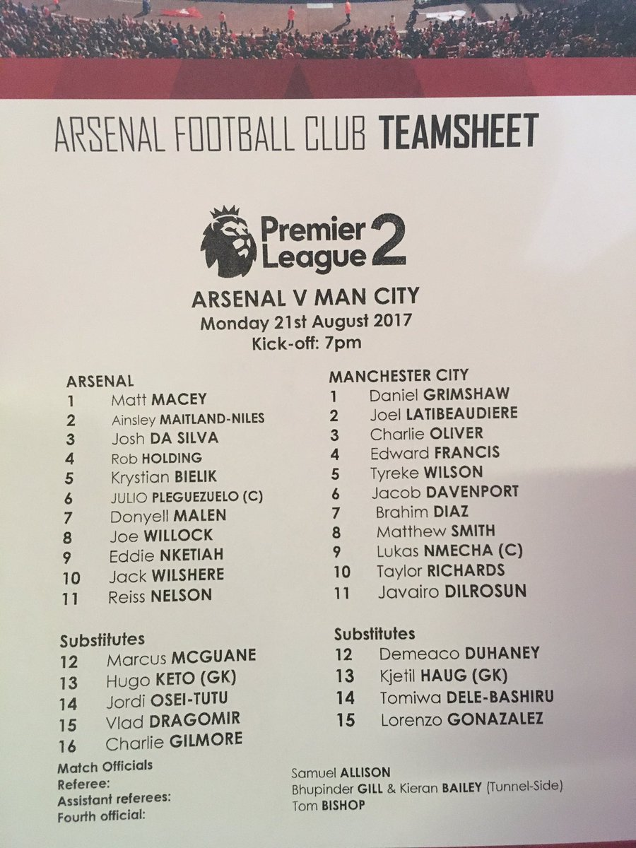 Arsenal U23 v Manchester City U23 teamsheet. #arsmci #PL2<br>http://pic.twitter.com/fZs1e5StM7