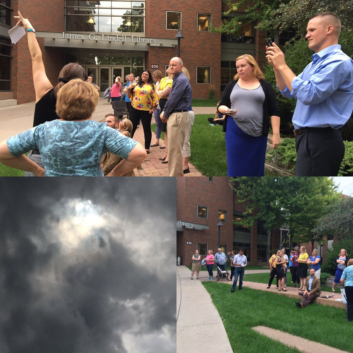 The @AugsburgU community gathers to see if we can catch a glimpse of #SolarEclipse17 https://t.co/v8fv4pJI2h