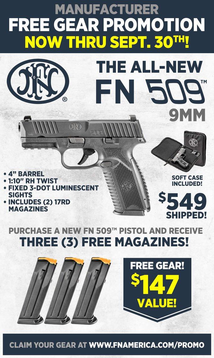 #fn #fnherstal #fnamerica #fn509 #rebate #sale #savings #guns #pewpew #freedom #2A #2ndAmendment Buy Now:  http:// bit.ly/2g05Ym8  &nbsp;  <br>http://pic.twitter.com/gvdHxurW67