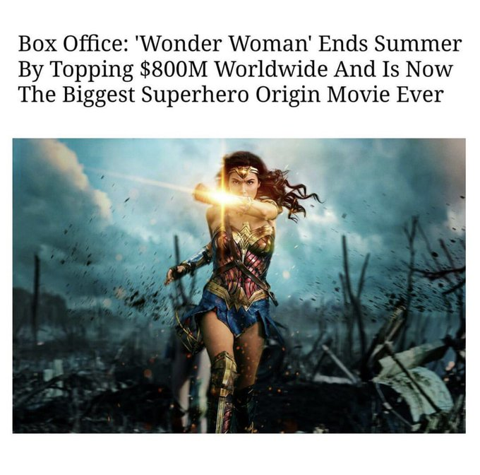 Wow! Just heard the news! Thank u to everyone who has shown their support to WW in theaters! What an amazing ride this has been! #grateful https://t.co/WZjVbDs1GY