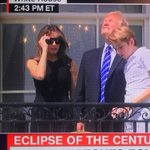 "From @realDonaldTrump: ""Dishonest, fake news media said don't look at eclipse w/o glasses, so I did! JOBS!"""
