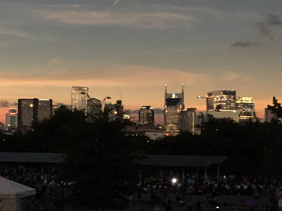 #Nashville downtown skyline at 1:27 in the afternoon #Eclipse @WSMV<br>http://pic.twitter.com/9kGObQCcCf