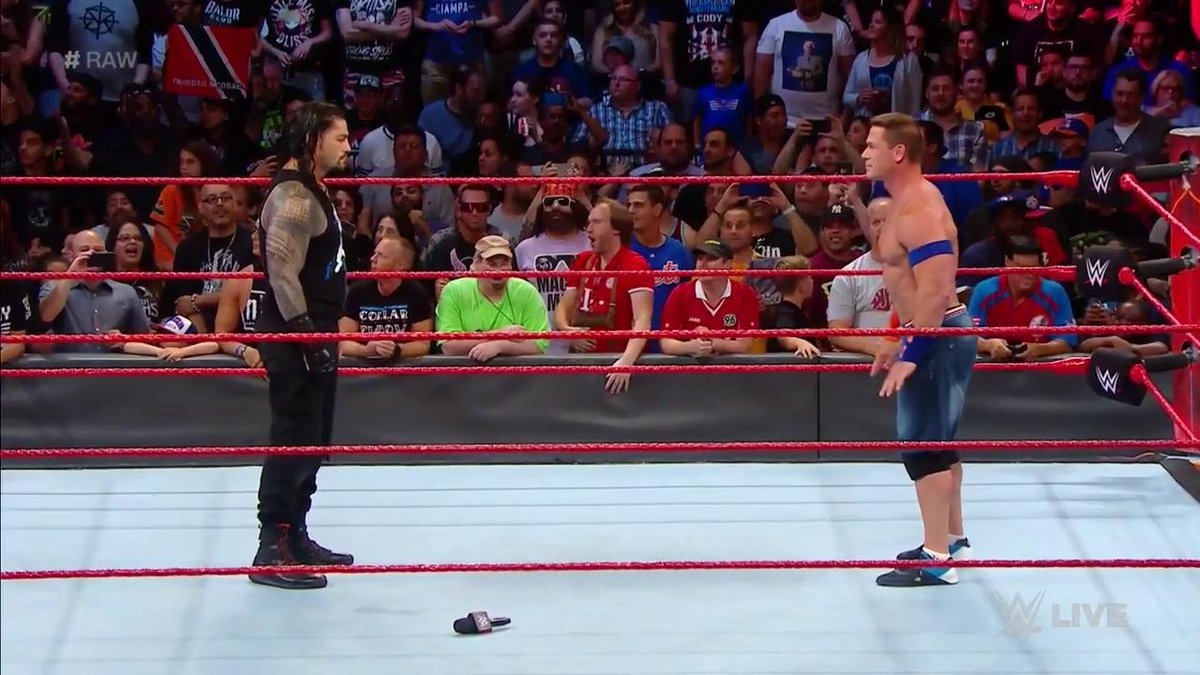 WHAT A MOMENT. #RAW @WWERomanReigns @JohnCena