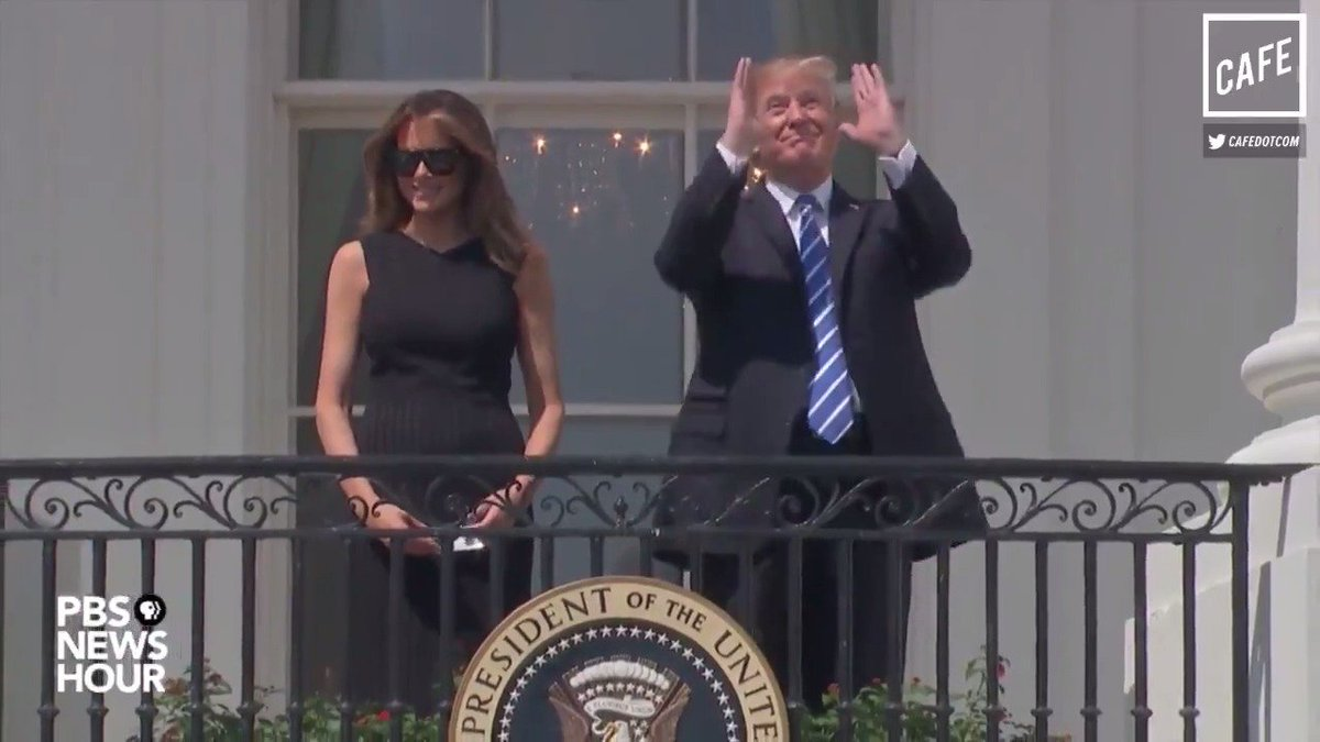 President Trump literally did the only thing you're not supposed to do during a solar eclipse. He's blind now. (@MattBinder for CAFE)