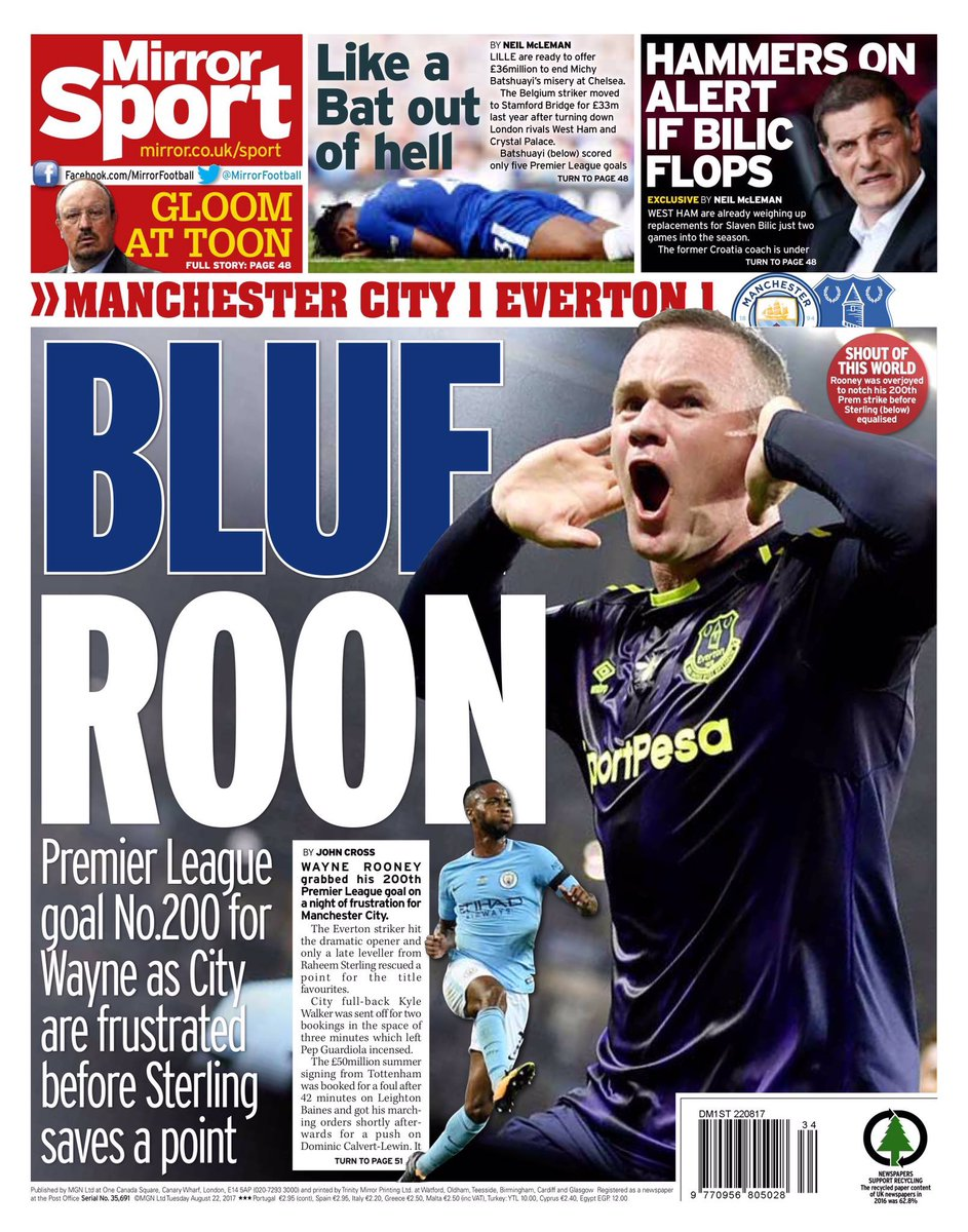 Daily Mirror. August 22. #frontpage #pri...