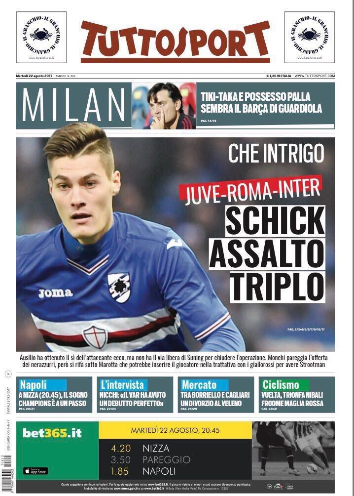 Tuttosport. August 22. #frontpage #prima...