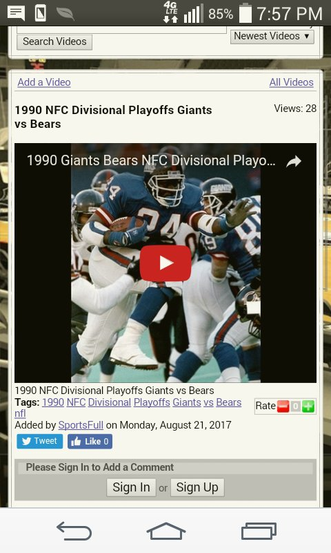 1990 NFC Divisional Playoffs Giants vs Bears #giants #bears &gt;  http:// sportsfull.com/videos.htm?a=&amp; act=view-video&amp;id=65C68CA9-F6BC-4F2D-BA05-802DC0E6F1A1 &nbsp; … <br>http://pic.twitter.com/GRtHTrY6E9
