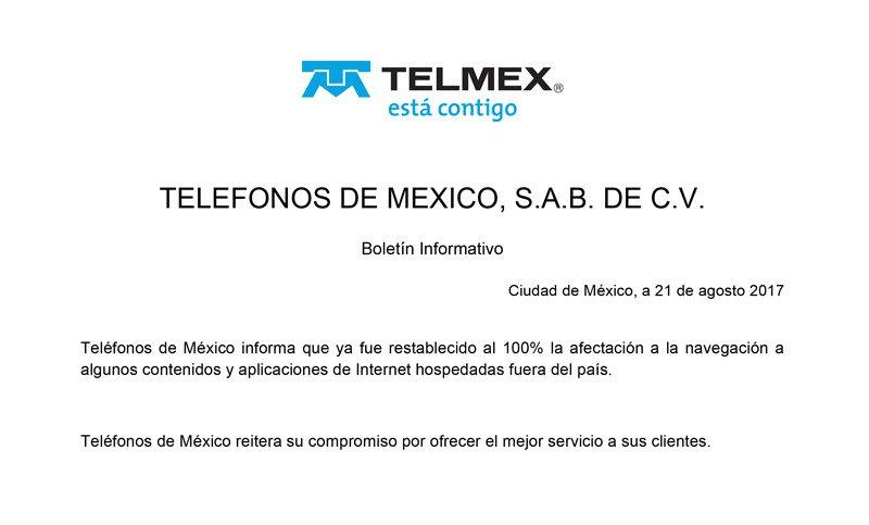 #TelmexInforma que los servicios afectados fueron restablecidos en su totalidad: https://t.co/OFWba3yuIi