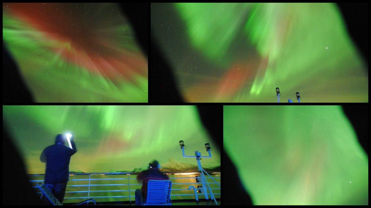 A1: #NorthernLights @HurtigrutenUSA #Norway coastal voyage #FoodTravelChat<br>http://pic.twitter.com/V6Lpe044oz