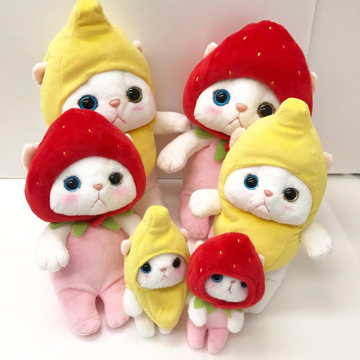 大反響につき、バナナ猫ぬいぐるみも試作をお見せしちゃいますね!どちらがお好きですか?#choochoo #JetoyJapan #cat #猫 #猫グッズ  #猫雑貨 #バナナ猫 #いちご猫 ...