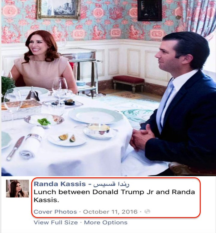 ^ Trump team denied Don Jr had direct contact w/Kremlin-linked Randa Kassis at Paris dinner, didn't mention his private lunch w/her #maddow