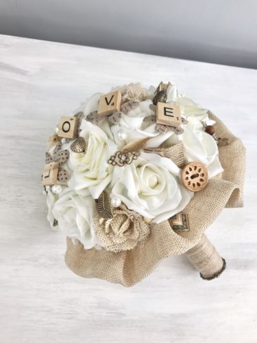 Uk Wedding Ideas On Twitter Hessian And Ivory Roses Brooches Paper Flowers Rustic Brides Wedding Bouquet Https T Co Nyi9bfphhm Ukwedding Flowers Https T Co Brtuevyao7