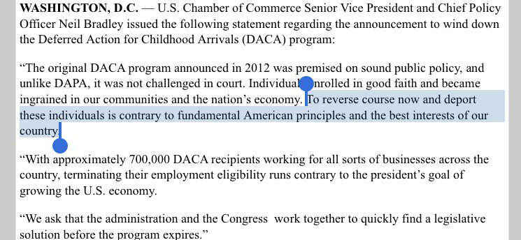 Very forceful pro-DACA statement from the Republican-aligned Chamber of Commerce https://t.co/kj4dNQ1s9A
