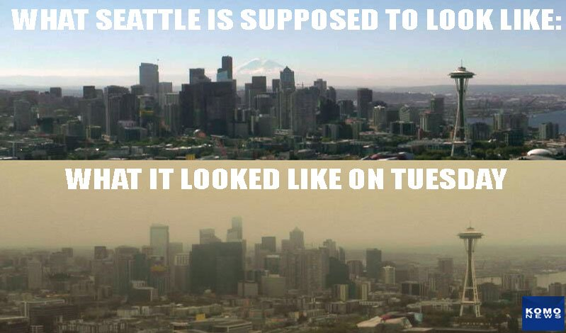 WOW! Here's what #Seattle looks like today vs a normal sunny day. More: https://t.co/HPPCCMYBDa  #wawx #komonews https://t.co/GzBz9U8uK5