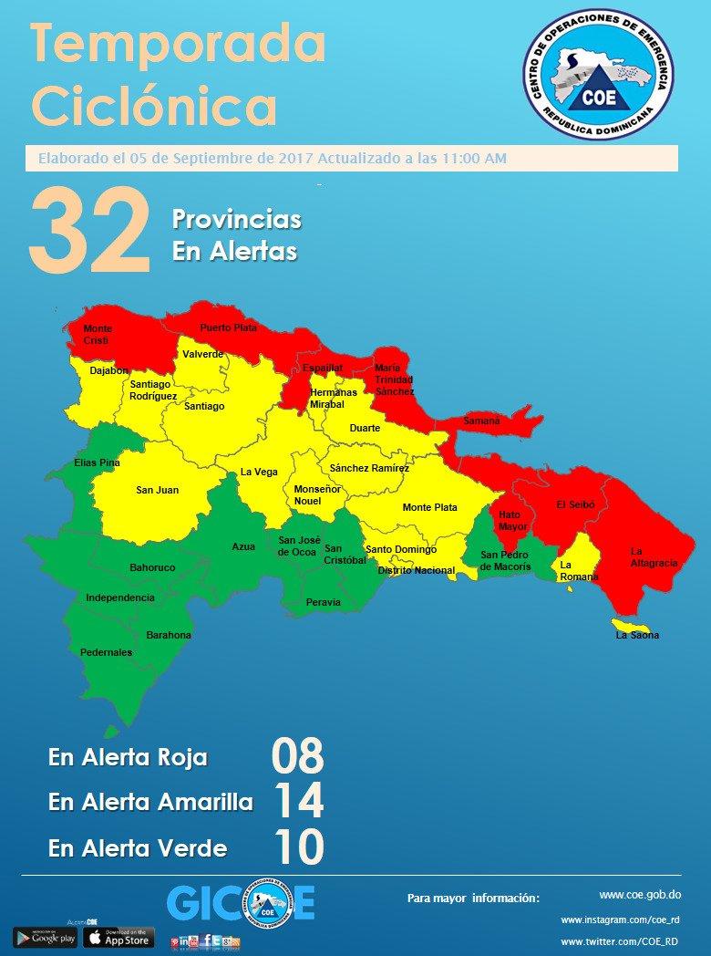 Mapa de alerta de la República Dominicana, 05 de Septiembre 2017 a las 11:00 am #AlertaCOE #COEOrienta #COEduca https://t.co/KBoqjd4OXx