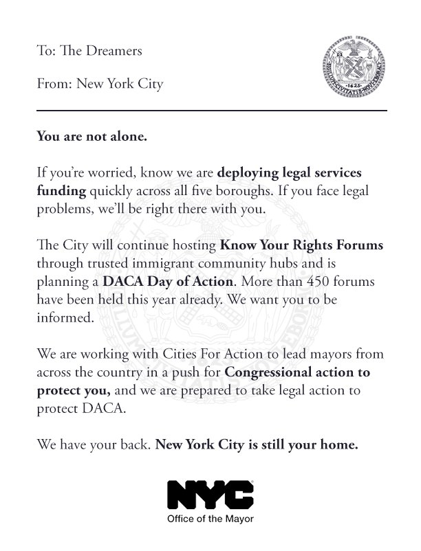 To the Dreamers of New York City: We stand with you. We will fight for you. In solidarity, New York City https://t.co/fhOYD3no7x
