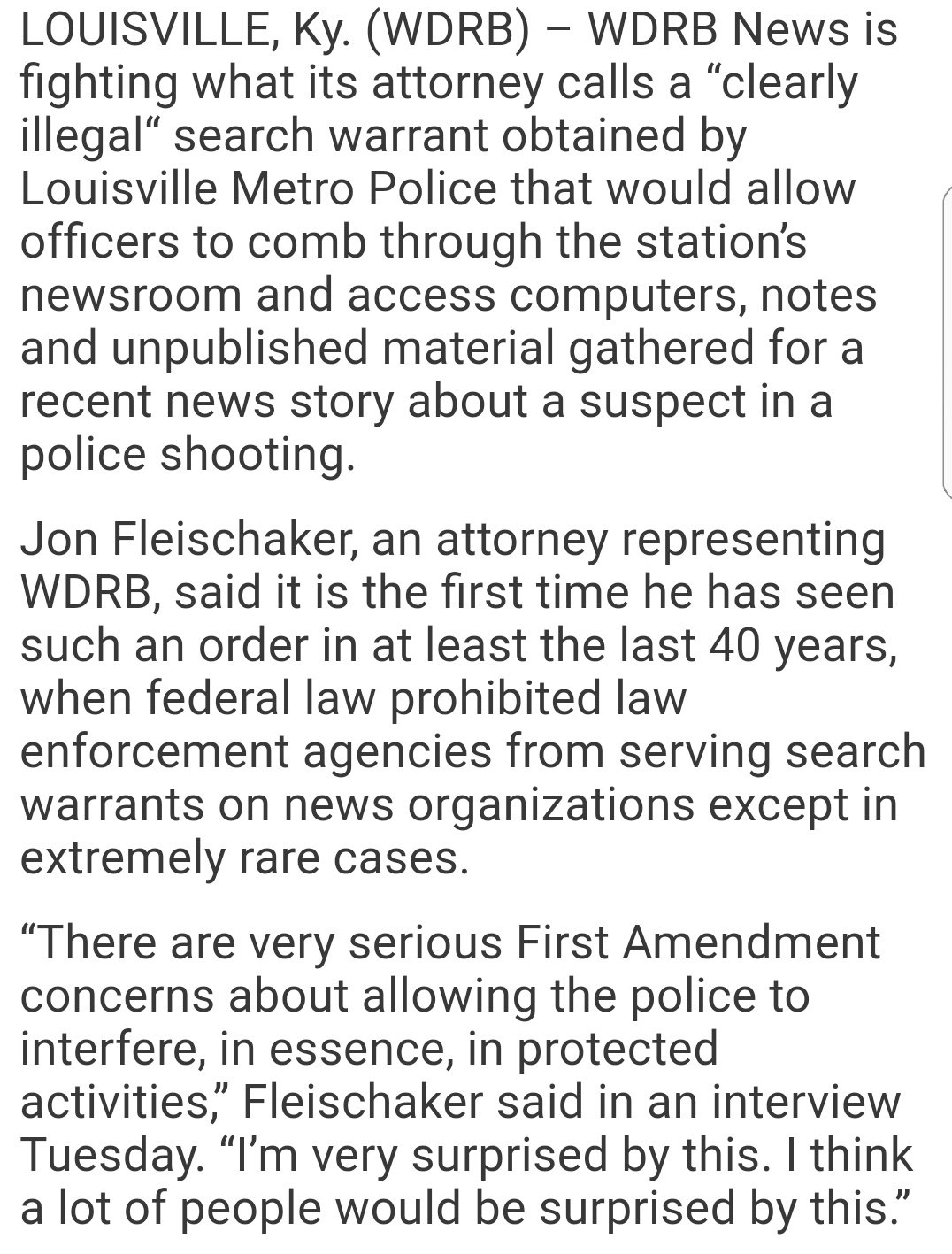 WDRB News fights 'clearly illegal' search warrant from Louisville Metro