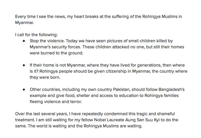My statement on the #Rohingya crisis in Myanmar: