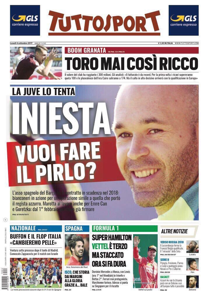 Tijani Goullet Ad On Twitter Tuttosport September 4 Frontpage Primapagina Rassegnastampa Portada Backpage Football Sports