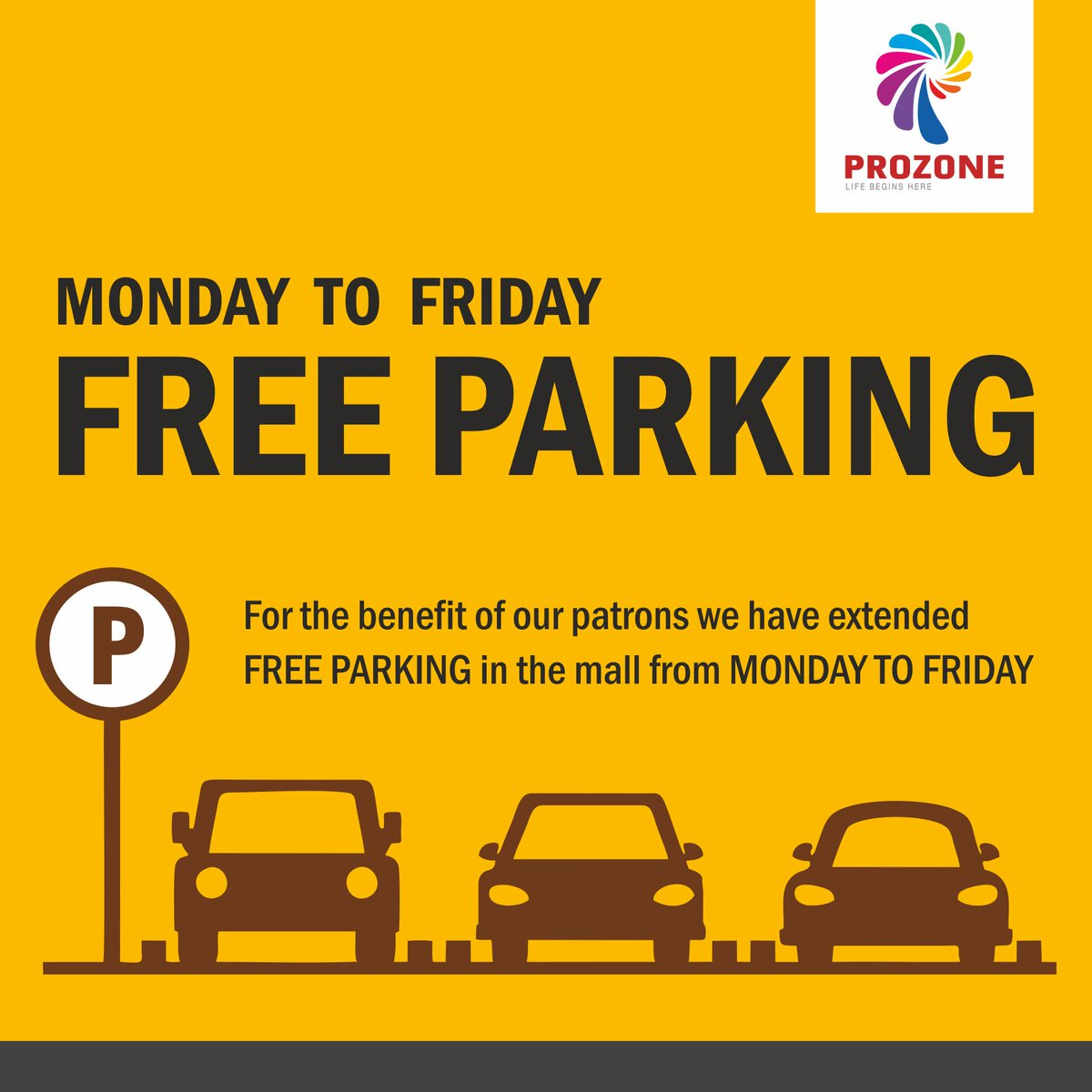 Something special for our shoppers!  Weekdays Free Parking at #ProzoneMallCoimbatore