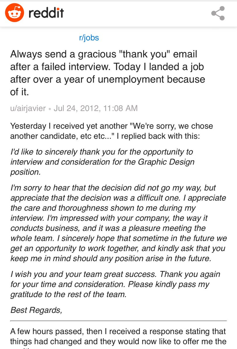 After interview thank you email reddit