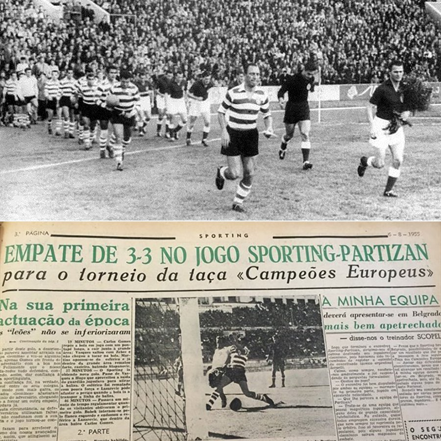 On this day in 1955, Sporting CP and Partizan took part in the first ever European Cup match. It finished in an epic 3-3 draw.pic.twitter.com/jQwTucHK95