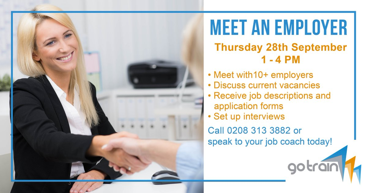 **JOBS FAIR** Join @GoTrainBromley on Thurs 28th Sept to meet local #employers &amp; get free #employment support! @StagecoachJobs @paddypower<br>http://pic.twitter.com/JzITwDfB3m