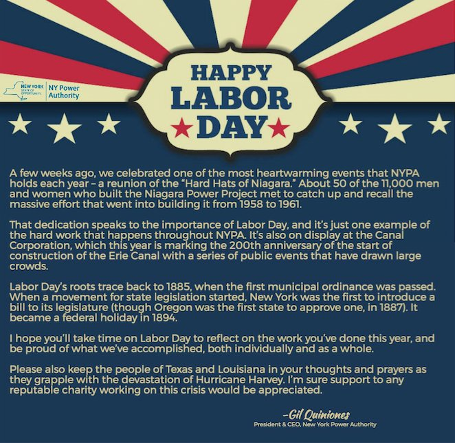 Ny Power Authority On Twitter Have A Happy Safe Enjoyable Labor