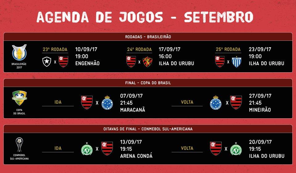 São três competições no mês de setembro. Confira as datas e locais dos jogos do Flamengo.