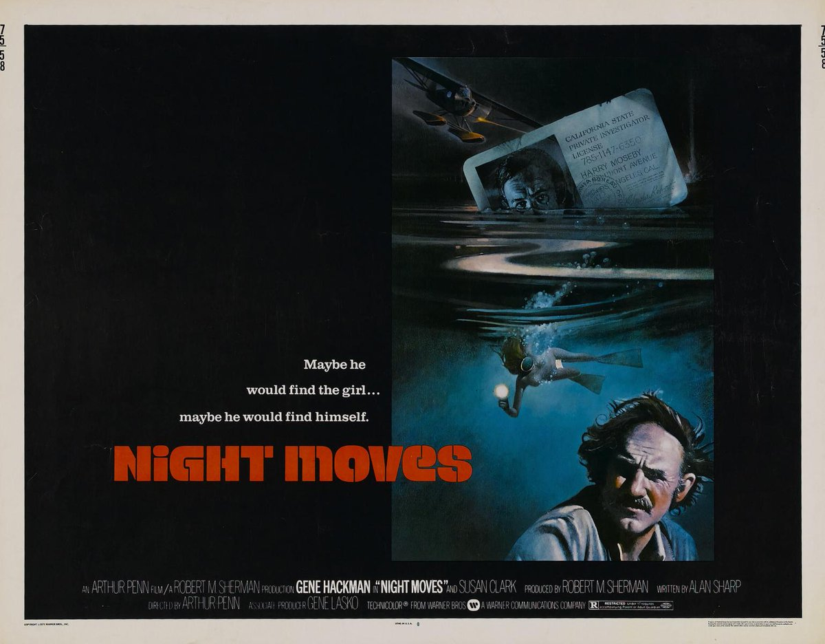 """favorite posters: """"Night Moves"""" - 1975 by #WilliamTeason for #BillGold #ArthurPenn #GeneHackman<br>http://pic.twitter.com/de7cEwsJZt"""