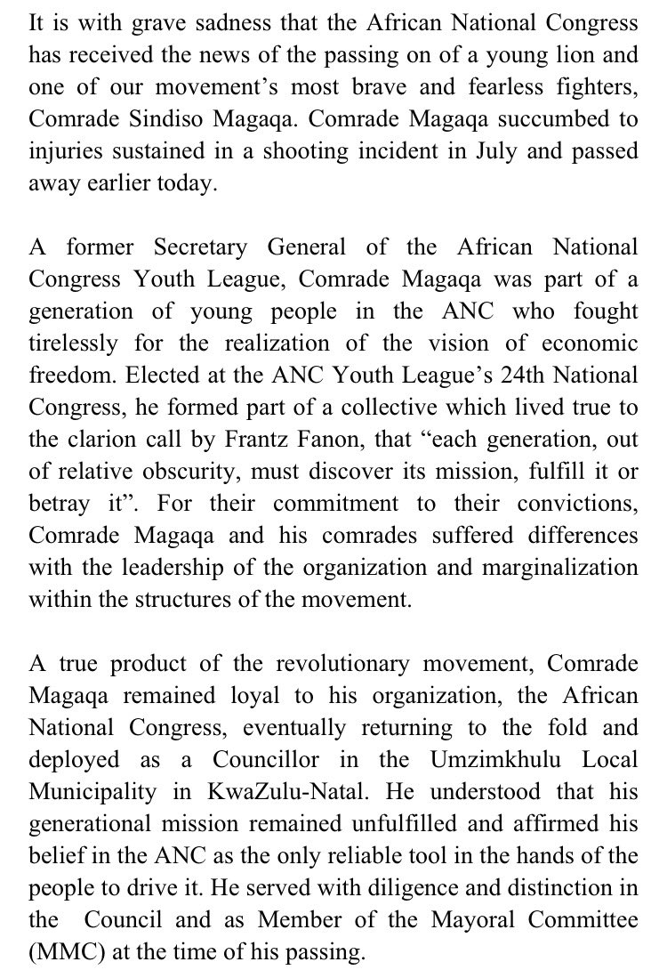 ANC MOURNS PASSING OF A FEARLESS FIGHTER CDE SINDISO MAGAQA https://t.co/wzKPdXLyQ6