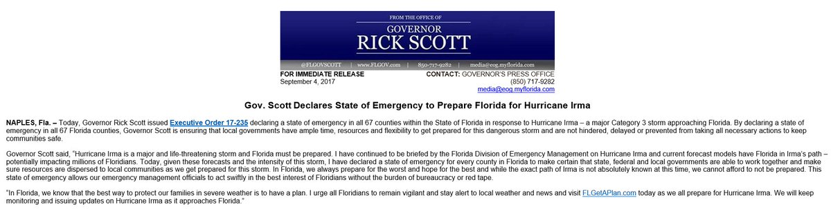 JUST IN: Governor Rick Scott declares State of Emergency to prepare Florida for Hurricane Irma. https://t.co/0WFuRH4pfn