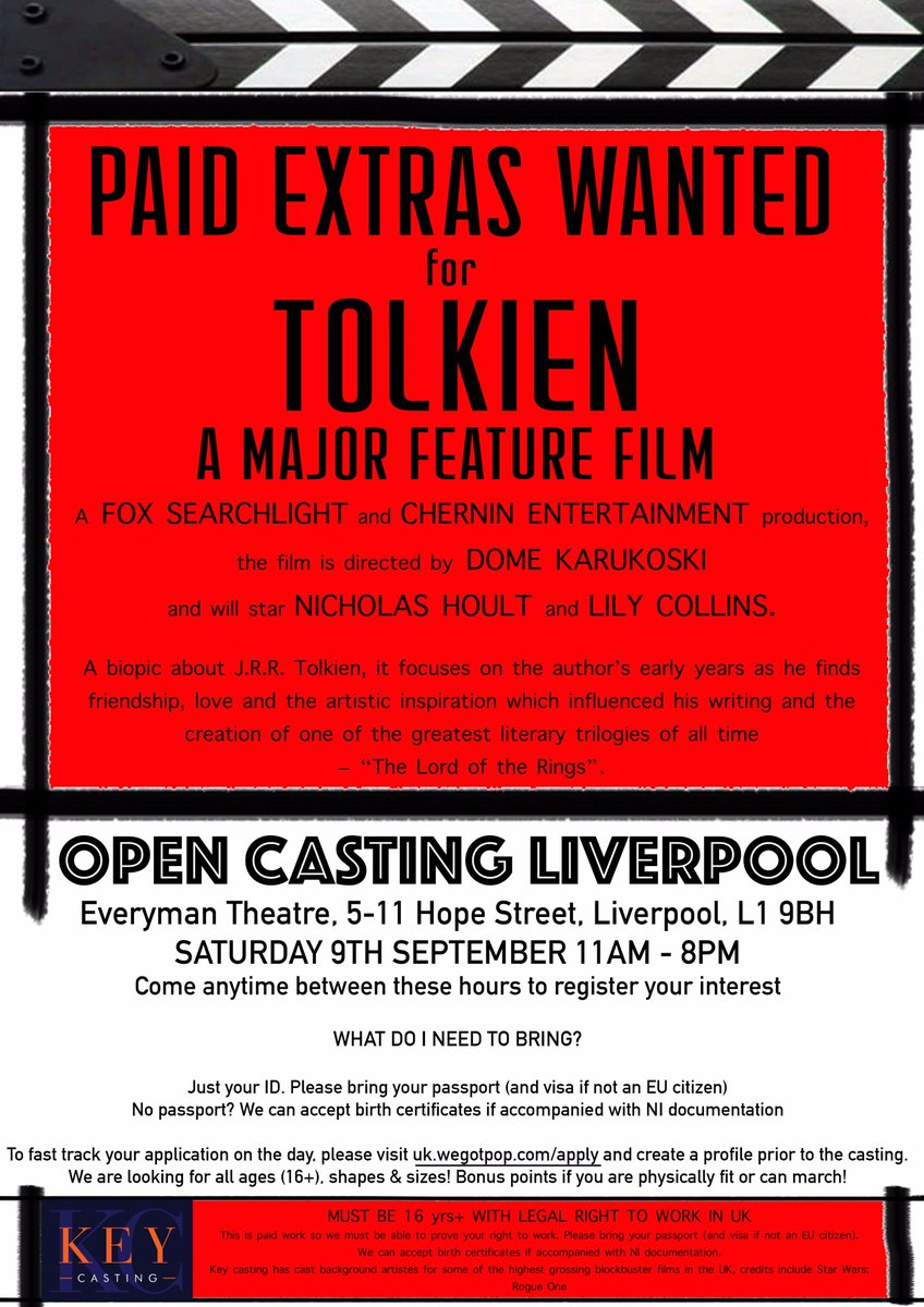 Rosie carter rcextrasagent twitter liverpool pop down next week for this fun opportunity beautiful costumes sets and experiences await film merseyside casting lotrpicitter aiddatafo Image collections