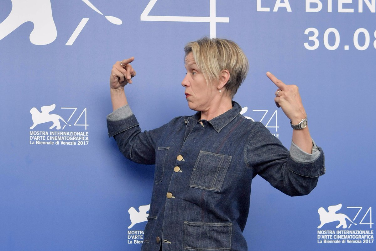 Frances McDormand at the THREE BILLBOARDS OUTSIDE EBBING, MISSOURI photocall in Venice. https://t.co/EZuXRpT7bC