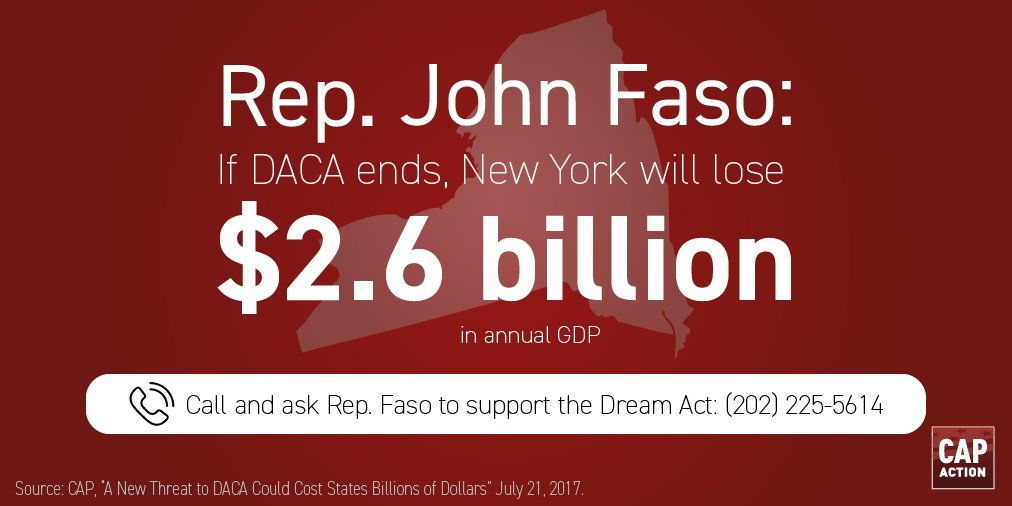#DACA repeal = 38,430 NY DREAMers subject to deportation. @RepJohnFaso, Reject nativism. Support #DreamAct