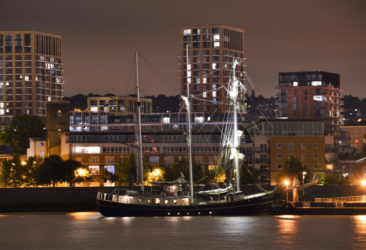 #tallship #Thalassa moored at #WoolwichArsenal pier on the #Thames #London this evening #dlr_blog<br>http://pic.twitter.com/4oQLgTxInk