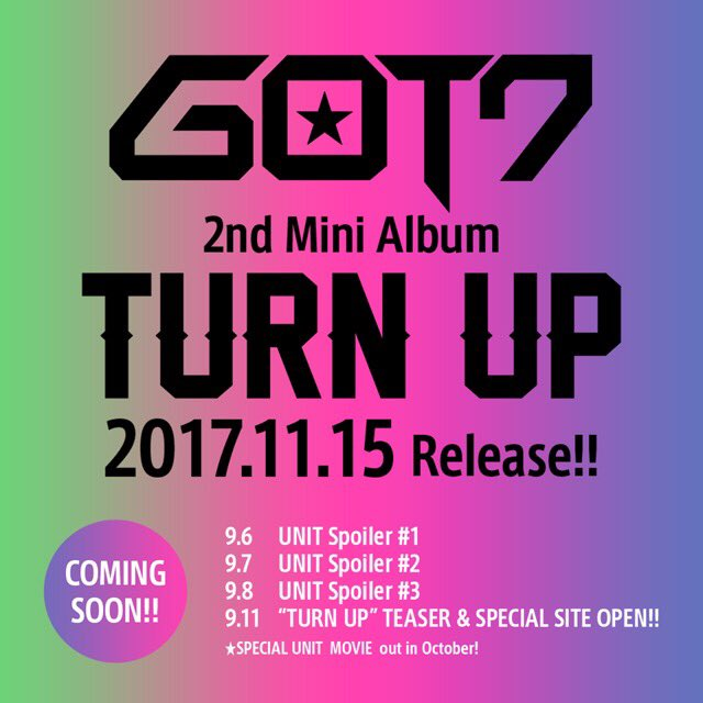 11/15(水) GOT7 2nd Mini Album『TURN UP』発売決定!リード曲「TUR…