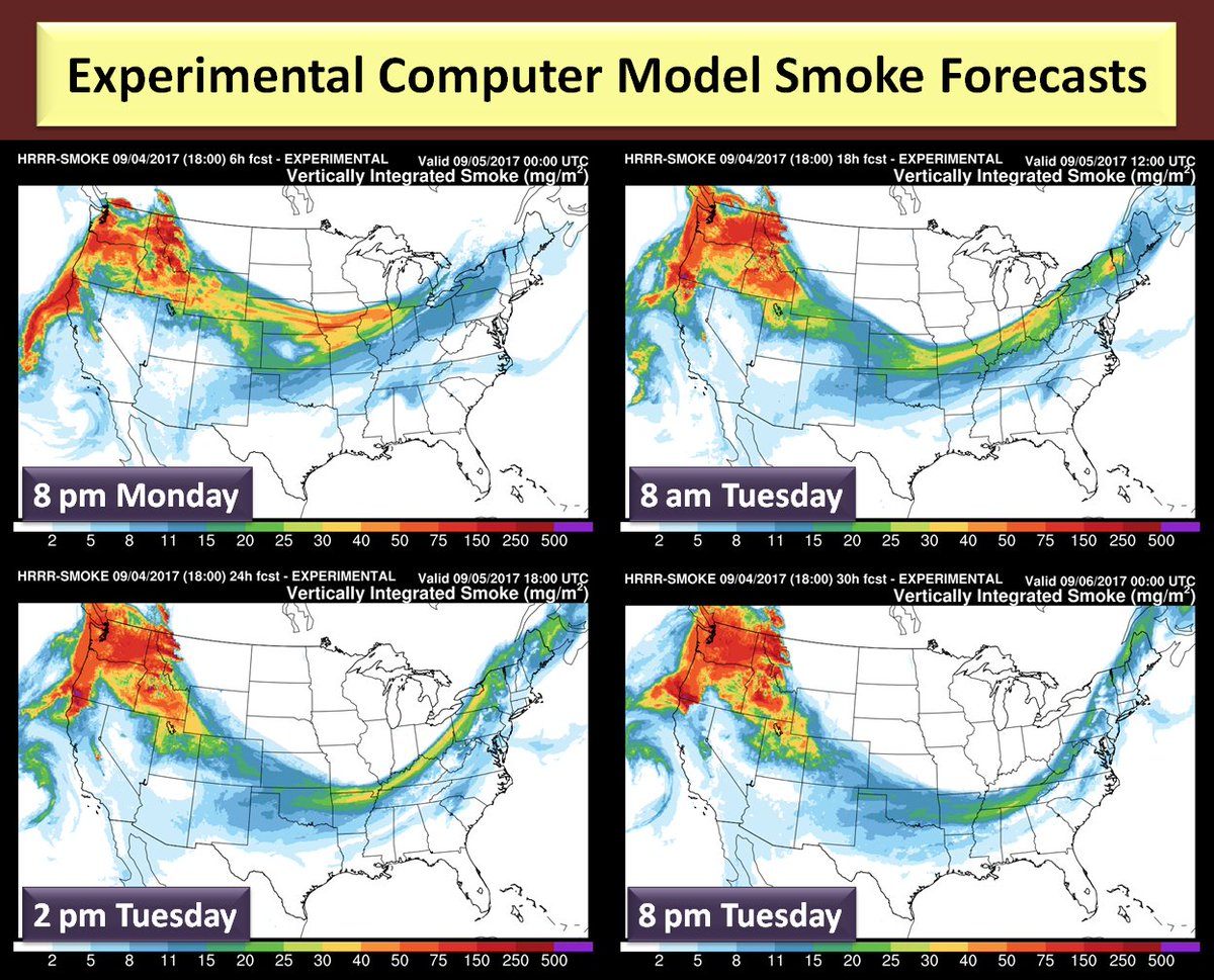 Nws Eastern Region On Twitter Cold Front Moving Thru East Is Transporting Smoke From Western Us Wildfires Most Smoke Is Aloft But Makes For Hazy Skies