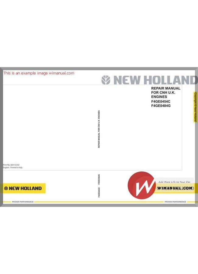 Repair Manual new holland tc27d on