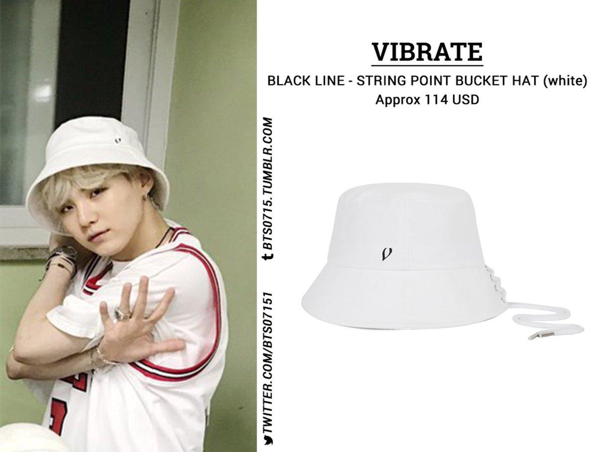 Bts0715 On Twitter 170902 Bts Suga 민윤기 방탄소년단 Vibrate Black Line String Point Bucket Hat In White
