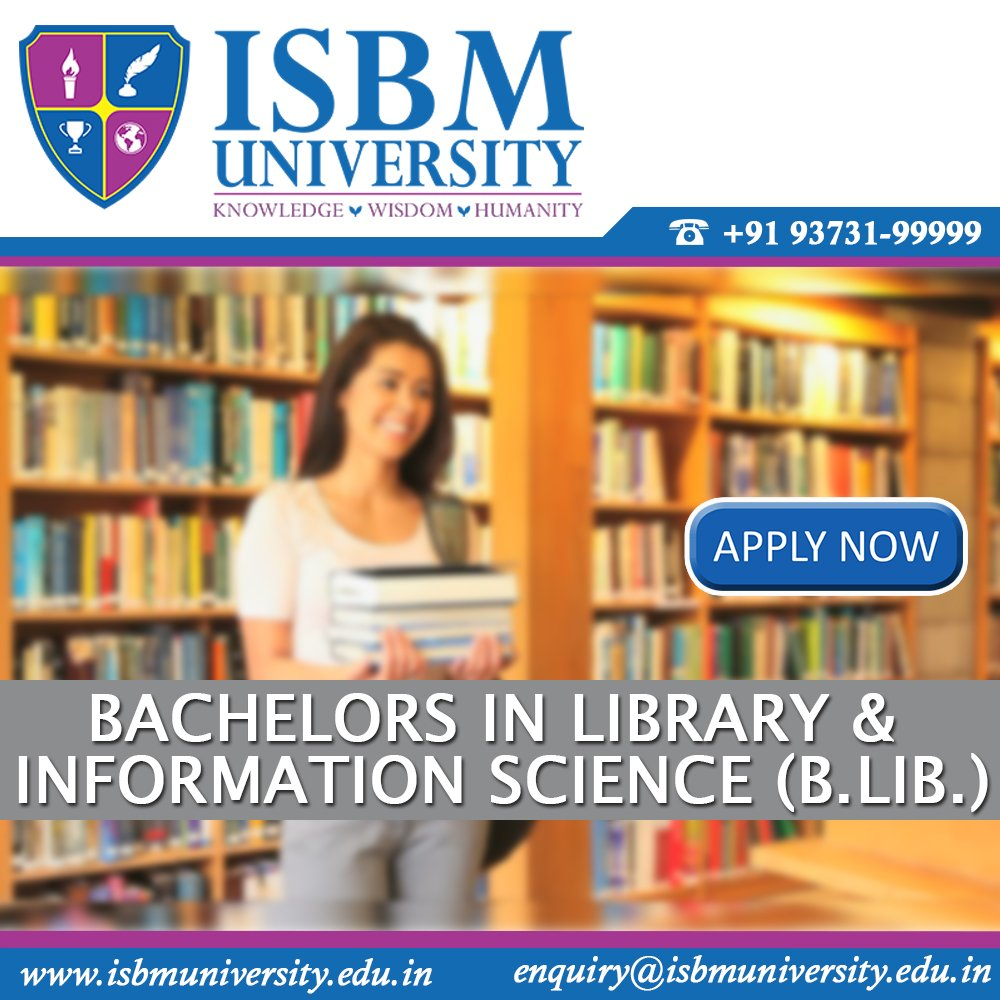 #Bachelor in #Library and #InformationScience  #ISBMUniversity   https:// goo.gl/LvYFvY  &nbsp;  <br>http://pic.twitter.com/6v7fY2Pxer